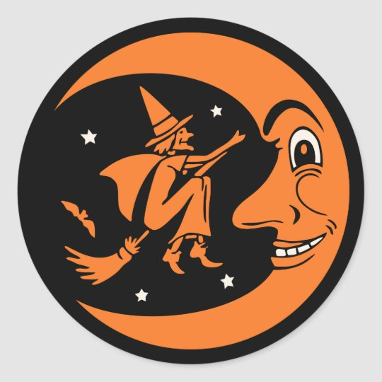 Classic Vintage Halloween Moon and Witch Classic Round
