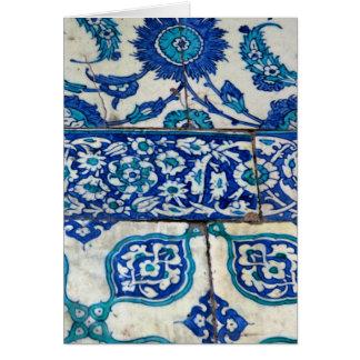 Classic Vintage iznik blue and white tile patterns Card