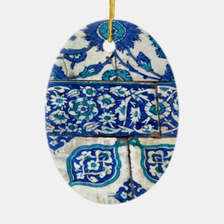 Classic Vintage iznik blue and white tile patterns Christmas Ornament
