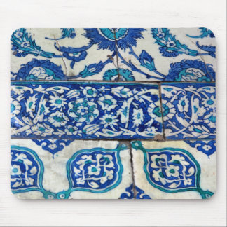 Classic Vintage iznik blue and white tile patterns Mouse Mat