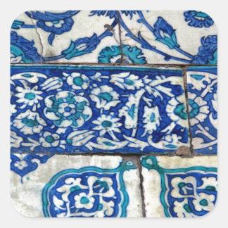 Classic Vintage iznik blue and white tile patterns Square Sticker