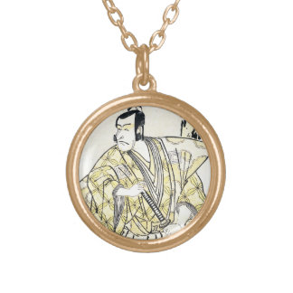 Classic vintage japanese actor as samurai Shunei Gold Plated Necklace