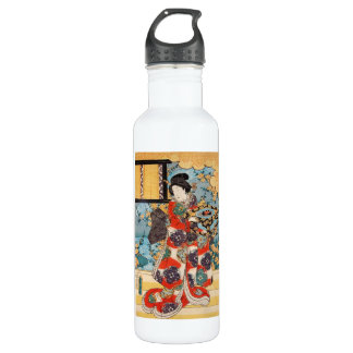 Classic vintage japanese geisha  ukiyo-e Utagawa 710 Ml Water Bottle