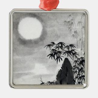 Classic vintage japanese night moon scenery sumi-e Silver-Colored square decoration