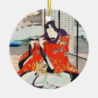 Classic vintage japanese ukiyo-e flute player art Double-Sided ceramic round christmas ornament