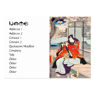 Classic vintage japanese ukiyo-e flute player art pack of chubby business cards