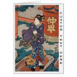 Classic vintage japanese ukiyo-e geisha Utagawa