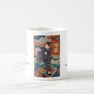 Classic vintage japanese ukiyo-e geisha Utagawa Basic White Mug