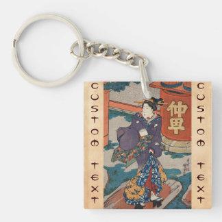Classic vintage japanese ukiyo-e geisha Utagawa Double-Sided Square Acrylic Key Ring