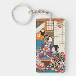 Classic vintage japanese ukiyo-e geishas Utagawa Double-Sided Rectangular Acrylic Key Ring