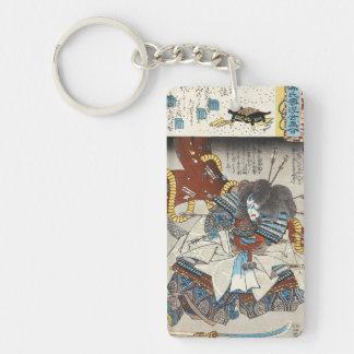 Classic vintage japanese ukiyo-e samurai Utagawa Double-Sided Rectangular Acrylic Key Ring