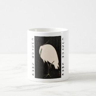 Classic vintage japanese ukiyo-e white crane art coffee mug