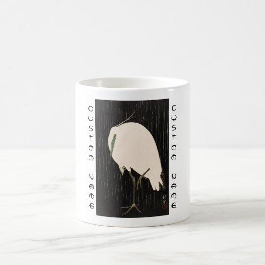 Classic vintage japanese ukiyo-e white crane art coffee