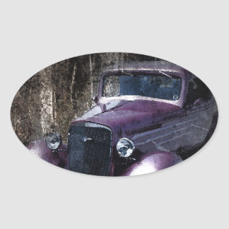 Classic Vintage Lavender Car With Grunge Layers Oval Sticker