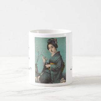 Classic vintage portrait of geisha japanese lady basic white mug