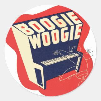 Classic Vintage Retro Boogie Woogie Jazz Round Sticker