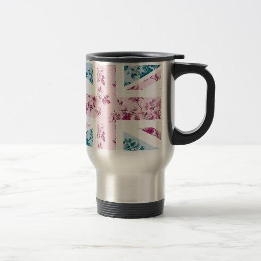 Classic Vintage Rose Union Jack British(UK) Flag Coffee Mugs
