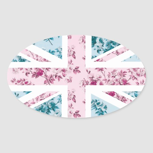 Classic Vintage Rose Union Jack British(UK) Flag Oval Stickers