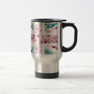 Classic Vintage Rose Union Jack British(UK) Flag Travel Mug