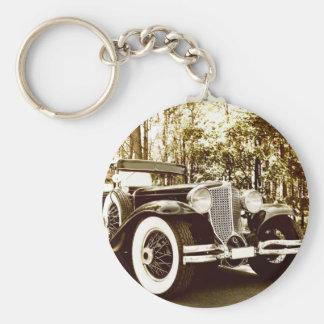 Classic Vintage Sepia Car Basic Round Button Key Ring