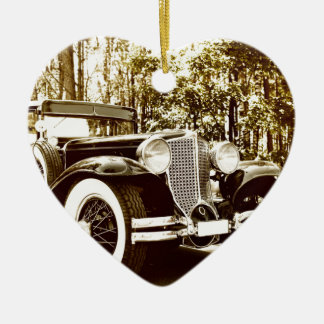 Classic Vintage Sepia Car Ceramic Heart Decoration
