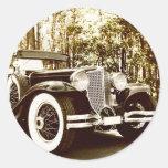 Classic Vintage Sepia Car Round Sticker