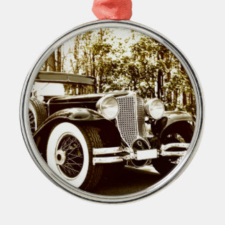 Classic Vintage Sepia Car Silver-Colored Round Decoration