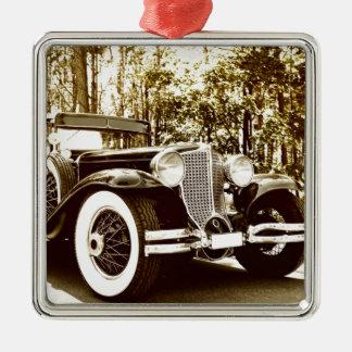 Classic Vintage Sepia Car Silver-Colored Square Decoration
