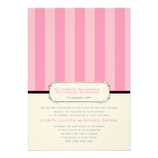 Classic Vintage Stripes Wedding Invitation in pink