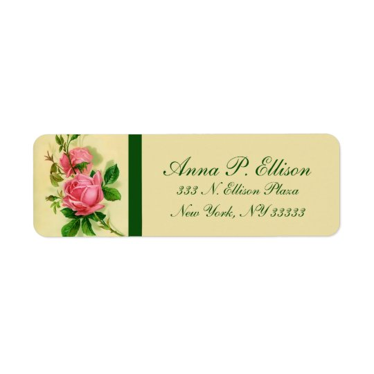 Classic Vintage Style Pink Roses Address Labels