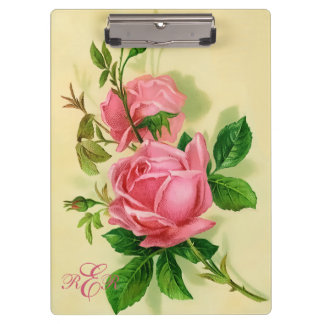 Classic Vintage Style Pink Roses Clipboard