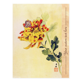 Classic vintage ukiyo-e chrysanthemum butterfly postcard
