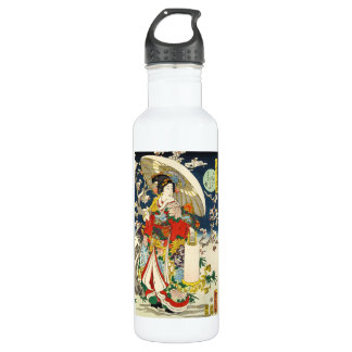 Classic vintage ukiyo-e geisha with umbrella 710 ml water bottle