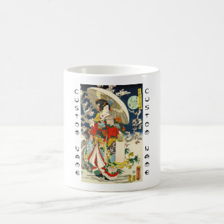 Classic vintage ukiyo-e geisha with umbrella basic white mug
