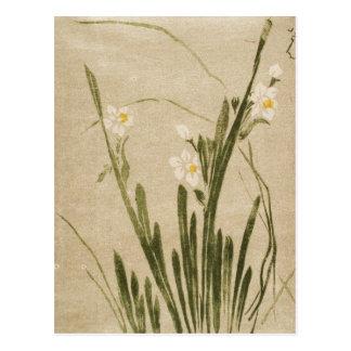 Classic vintage ukiyo-e japanese flowers art postcard