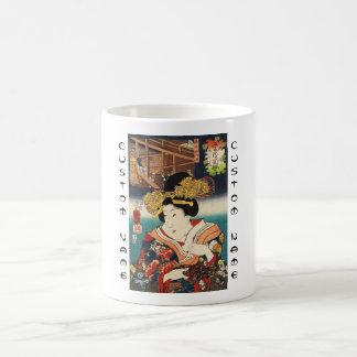 Classic vintage ukiyo-e japanese geisha portrait basic white mug