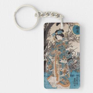Classic vintage ukiyo-e japanese geisha portrait Double-Sided rectangular acrylic key ring