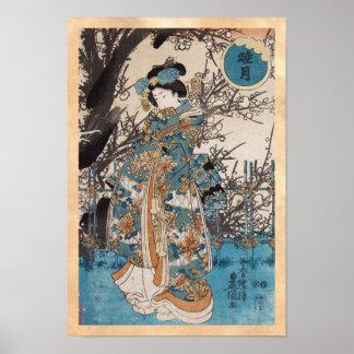 Classic vintage ukiyo-e japanese geisha portrait poster