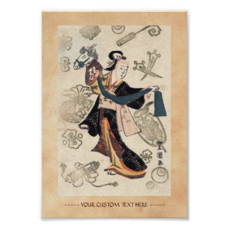 Classic vintage ukiyo-e japanese woman and puppet poster