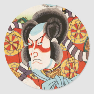 Classic vintage ukiyo-e kabuki samurai Utagawa art Classic Round Sticker