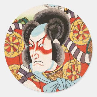 Classic vintage ukiyo-e kabuki samurai Utagawa art Round Sticker