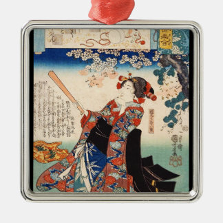 Classic vintage ukiyo-e old scroll geisha Utagawa Christmas Ornament
