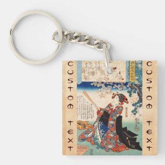 Classic vintage ukiyo-e old scroll geisha Utagawa Double-Sided Square Acrylic Key Ring