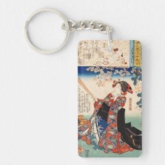 Classic vintage ukiyo-e old scroll geisha Utagawa Double-Sided Rectangular Acrylic Key Ring