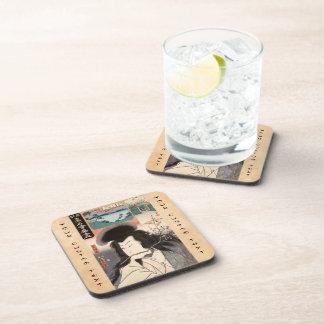 Classic vintage ukiyo-e samurai portrait Utagawa Beverage Coaster