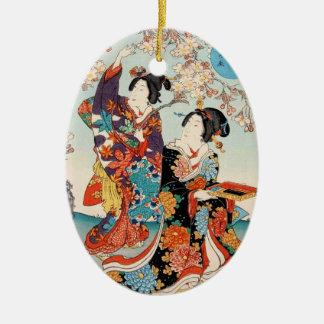 Classic vintage ukiyo-e two geishas Utagawa art Christmas Ornament
