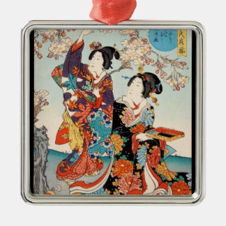 Classic vintage ukiyo-e two geishas Utagawa art Christmas Ornament