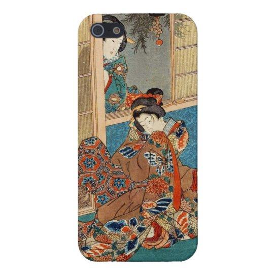 Classic vintage ukiyo-e two geishas Utagawa art iPhone