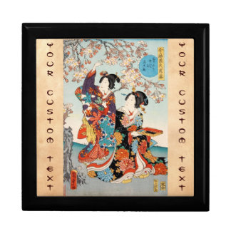 Classic vintage ukiyo-e two geishas Utagawa art Large Square Gift Box