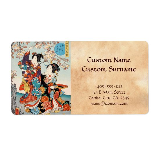 Classic vintage ukiyo-e two geishas Utagawa art Shipping Label